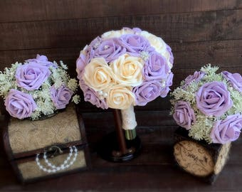 4 Piece Lilac And Ivory Wedding Bouquets