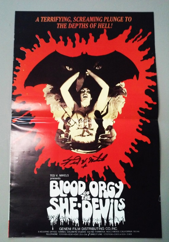 Blood Orgy Of The She Devils Pressbook Signed by Ted V. Mikels