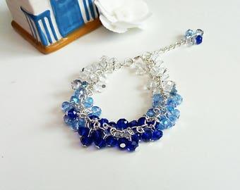 Ombre cluster bracelet, beaded bracelet, blue bracelet,  crystal bracelet, silver bracelet, gifts for her, summer jewellery