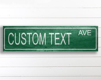 Custom Street Sign, Personalized Canvas Street Sign, Vintage Style Canvas Sign, Canvas Wall Decor, Vintage Home Decor, Farmhouse Style Decor