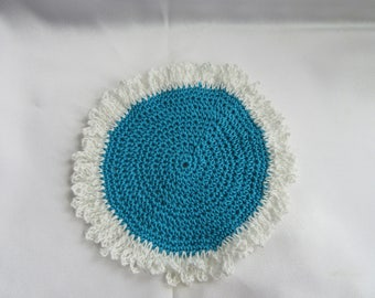 Miniature- Dollhouse Crochet Rug Turquoise  and White Rug