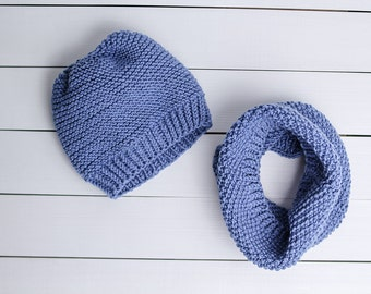 Blue baby set Baby hat Photo props Baby shower gift Hand knit set Baby gift Baby boy gift Hat and scarf set Navy blue set Blue cowl
