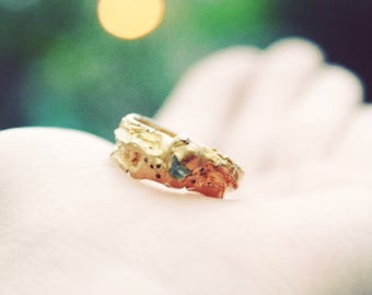 Raw crystal Ring, Raw Emerald Ring, Raw Sterling Silver Ring, Raw Ring, wizard of oz ring, gold plate, Boho Ring, Boho Jewelry, healing ring