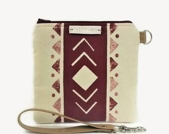 Travel Wallet Wristlet - Vegan Cellphone Pouch, Travel Wallet Bag, iphone Wristlet Wallet, Aztec Print Wrist Bag, Vegan Phone Bag