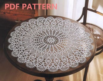 Vintage Lace Crochet Round Table Center Doily Pattern Instant Download Detailed English Instruction