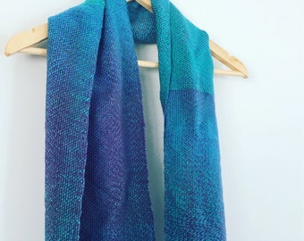 Blue, Green and Purple variegated handwoven scarf women's scarf using 100% new wool handmade by Waffle and Weave
