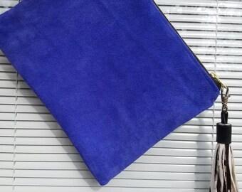 Royal Blue Suede Mini Clutch