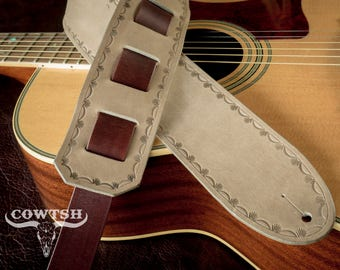 """Leather Guitar Strap in Taupe & Mahogony, Vegetable Tanned Nubuck  2.5"""" Leather, Hand Made."""