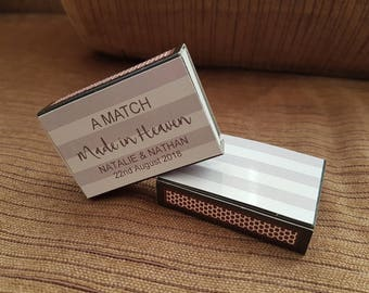 10 x Personalised Favours Matchbox 'A Match Made in Heaven'  Wedding - Matches Silver and White