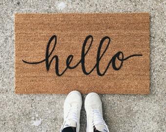 hello welcome mat | hand painted, custom doormat | cute doormat | outdoor doormat | wedding gift | housewarming gift