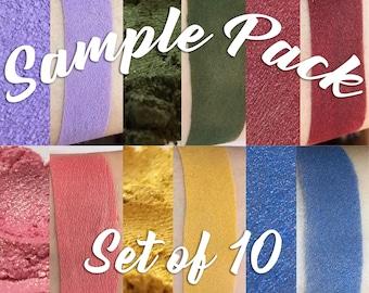Eye Shadow Sample Pack - Set of Ten - Assorted Eye shadow - Shimmer Eye shadow - Matte Eye shadow - Satin Eye shadow - Loose Eye shadow