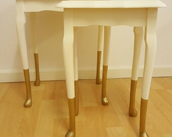 Vintage nest of tables / cream and gold dipped legs