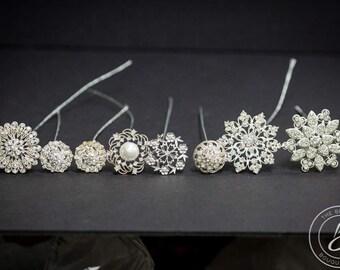 Wired brooch stems, brooch set, brooch bouquet kit, bouquet accessories, rhinestone brooch, diy wedding bouquet, brooch lot, Bouquet jewelry