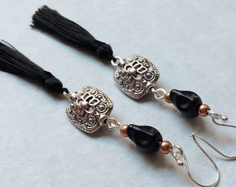 Black, Silver & Copper Tassel Earrings, sterling silver hooks, black tassel earrings, skull dangle earrings, gift for her, trending now