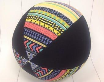 Balloon Ball Fabric, Balloon Ball Cover, Portable Ball, Travel Ball, Inflatable, Sensory, Special Needs, Aztec Print, Black, Kids, Dogs