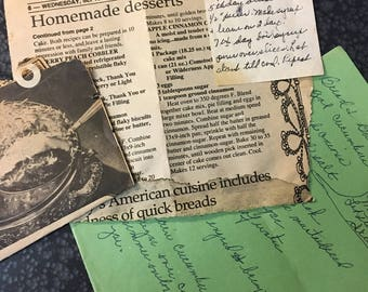 Grandmom's scrap paper recipes - Recipes clipped from Newspapers and handed down - Pickle and Dessert  Recipes  - pass on the love