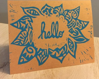 Set of Three Hello Cards - Teal Ink