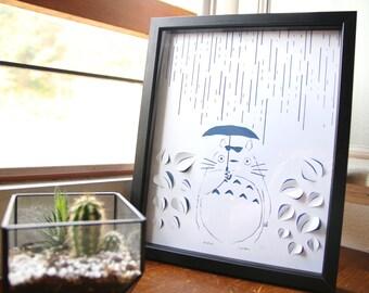 """Tableau Totoro papier découpé blanc sur fond papier couleur, fait main inspiré de l'univers de """"Mon voison Totoro"""", cadre 30x24cm"""