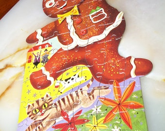 Gingerbread Man Jigsaw Puzzle! HG Toys, Shape Puzzle, 50 Piece Puzzle, No. 411, Large Piece Puzzle, Interlocking Pieces, Cylinder Box