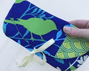 Clutch, Handmade Clutch, Envelope Clutch, Bird Clutch, Cosmetic Bag, Whimsical Clutch, Blue Cluch