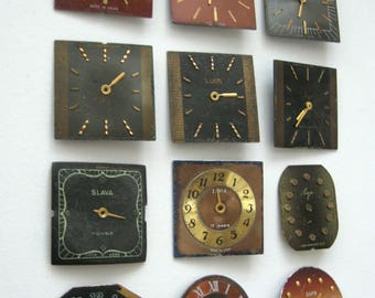 12 pieces. Vintage watch face, From Old Watch Parts, For Steampunk Altered Art Gear, or ScrapBooking