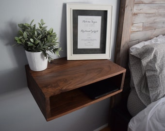 Walnut Floating Bedside Table/Nightstand