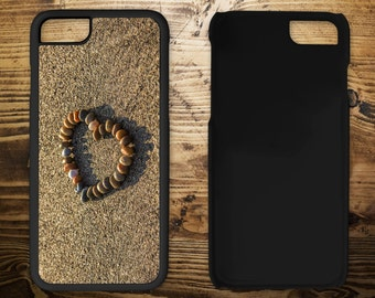 Pebble Heart in sand, iPhone 7 case, iPhone case, iPhone 7 plus, iPhone 6/6s, iPhone 5c, iPhone 5/5s, iPhone 4/4s,