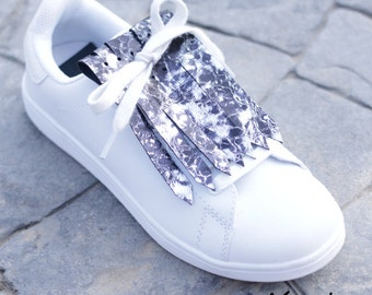 Fringed Leather for Sneakers - Silver Bubbles