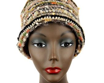 Cloche - Earth-tone multi-colored Hand Crochet Winter Hat - HAT6036 OOAK