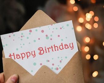 DIGITAL Pretty Birthday Card - Happy Birthday Card - Birthday Card For Partner - Best Friend Card - Birthday For Mom - Circles Card