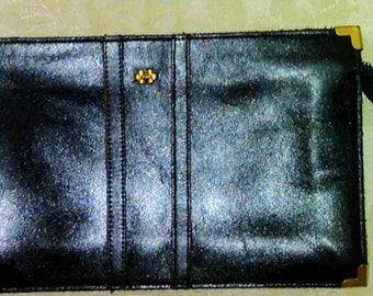 Vintage 1970's Dorcelle Clutch Black Leather