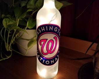 Washington Nationals Wine Bottle Lamp, MLB,  Major League Baseball, Gifts for Him, Gifts for Her, Birthday, Easter, Nightlight, Curly W