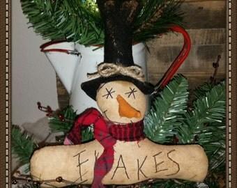 primitive snowman tree ornament, snowman cupboard tuck, OFG, FAAP, Christmas ornament, Christmas gift, winter decor,ornie, shelf sitter