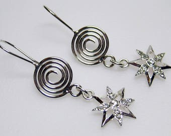 Silver Stars with Crystals Earrings - Star Earrings - Crystal Earrings - Silver Swirl Earrings - Womens Earrings - Crystal Jewelry - MT-10