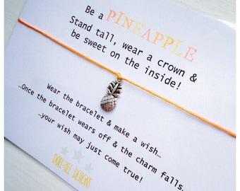 Wishing Bracelet 'Be a Pineapple' Wish Bracelet Gift