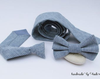 Dad and Kids Gifts - Father Son Matching Ties - Linen Ties - Father Son Ties - Father and Son Tie Set - Father Son Outfit - Blue White