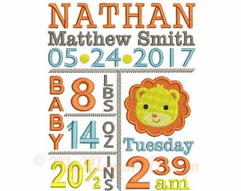 Birth Announcement Embroidery Design - CUSTOM EMBROIDERY - Lion Embroidery - Baby Boy Embroidery - Machine Embroidery - 4x4 5x7 6x10 size