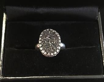 Black Druzy sterling silver