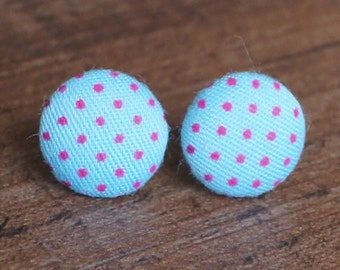 Blue and Pink Polka Dot Fabric Button Stud Retro Earrings