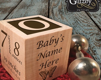 Modern Wood Block for New Baby Personalized, Customized Wooden Keepsake for Newborn baby gift