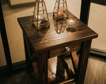 Rustic X-frame Side Table Night Stand