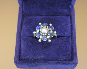 Austro-Hungarian Silver(750) Ring with Sapphires and Pearls
