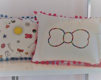 Throw Pillow, Cute Bow Design, Pom Pom Trim,