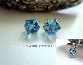 Aqua Blue Crystal Cube Swarovski Crystal Stud Sterling Silver Post Swarovski Aqua Swarovski Blue Blue Crystal Stud Swarovski Cube
