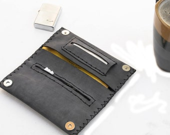 Tobacco pouch, dark gray hard leather, tobacco leather case, handstitched tobacco pouch, gift for him