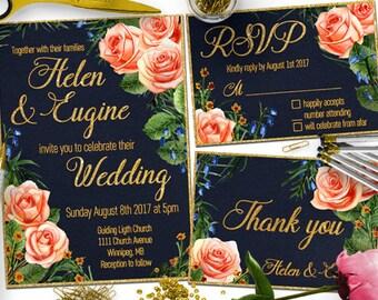 Blue Floral Wedding Invitation Template Set, Floral Wedding Invite, Navy wedding invite, Printable Invitation,  Wedding Invitation rsvp
