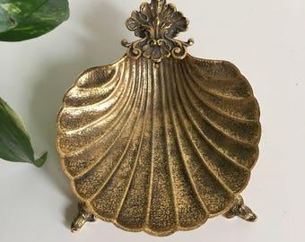 "Vintage Ornate Hollywood Regency Brass Gold Seashell Shell Dolphin Koi Trinket Dish 6"""
