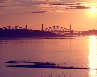 Forth Bridge Viewed From Cramond Island, Edinburgh Scotland