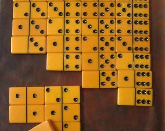 Vintage Orange Bakelite Domino Set
