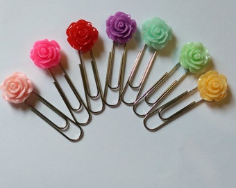Rose Paperclips  - Planners/Bookmarks